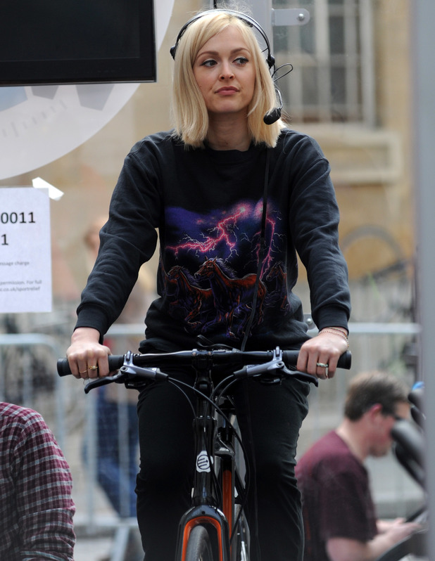 Ferne Cotton supports Nick Grimshaw during Sport Relief cycle. London, Britain - 17 Mar 2014