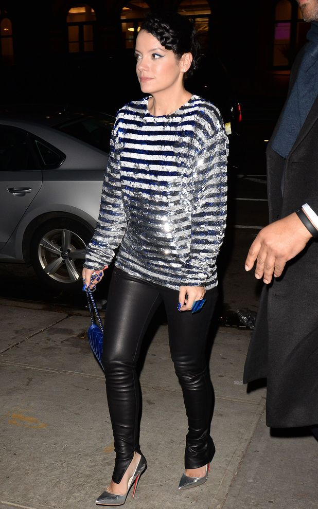 Lily Allen rocks leather trousers in New York - 21 Mar 2014