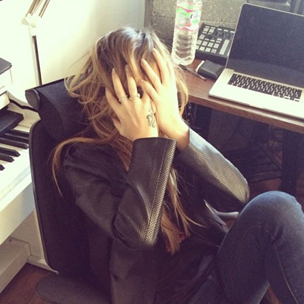 Cheryl Cole working in the recording studio - and struggling to find a chorus, March 2014