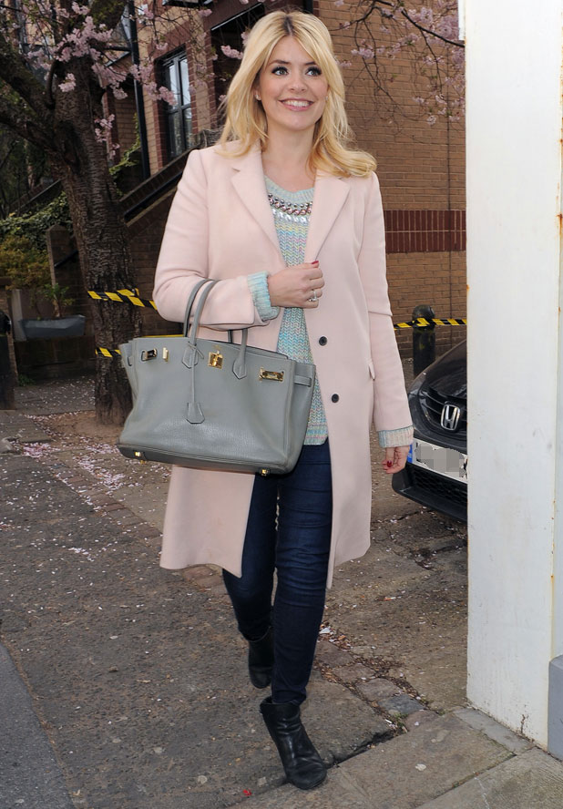 Holly Willoughby arriving at Celebrity Juice taping at Riverside Studios, London, 19 March 2014