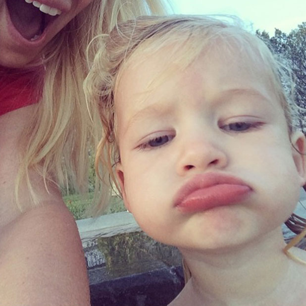 Jessica Simpson's daughter Maxwell pouts while in a hot tub, March 2014