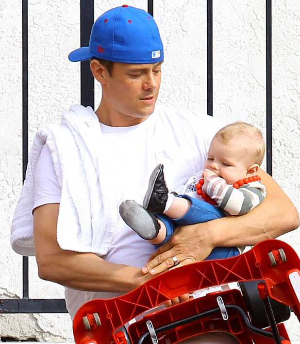 Josh Duhamel at the gym with son Axl in Santa Monica, Los Angeles, America - 20 Mar 2014