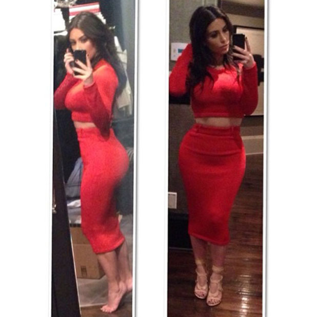 Kim Kardashian in a red crop top and pencil skirt for dinner in LA, 19 March 2014