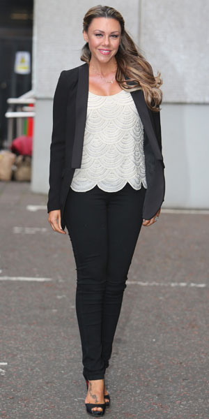 Michelle Heaton outside the ITV studios in London, 20 March 2014