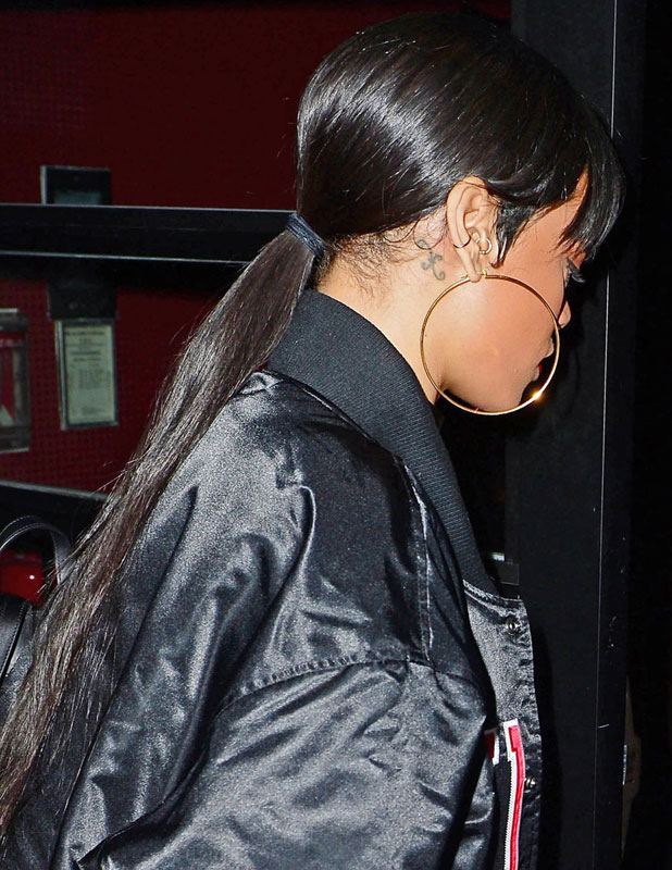 Rihanna shows off her new long hair at the VIP Room, New York, America - 16 Mar 2014
