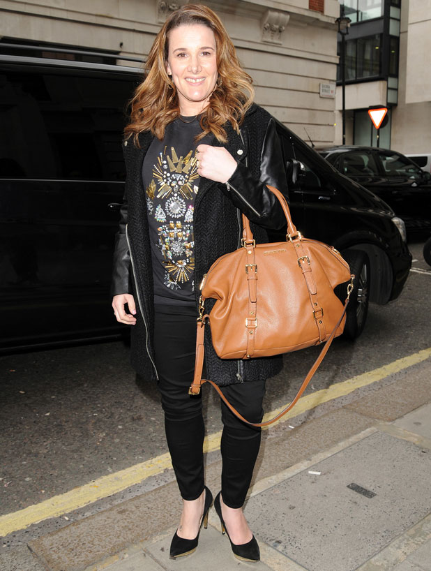 A pregnant Sam Bailey visits BBC Radio 2 studios in London, 18 March 2014