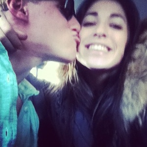 Made In Chelsea's Jamie Laing kisses Tara Keeney on the cheek (23 March 2014).