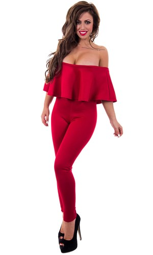 Holly Hagan in Frill Bardot Jumpsuit from her Spring 2014 collection with The Fashion Bible - 26 March 2014