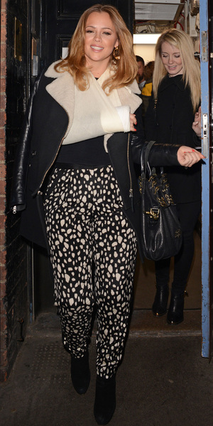 Kimberley Walsh in sling after watching the musical 'From Here To Eternity'. 24 March 2013