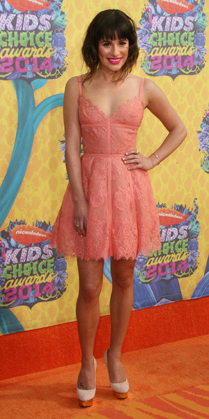 Lea Michele has a 'Marilyn Monroe' moment at 2014 Nickelodeon Kids' Choice Awards held at USC's Galen Center, 29 March 2014