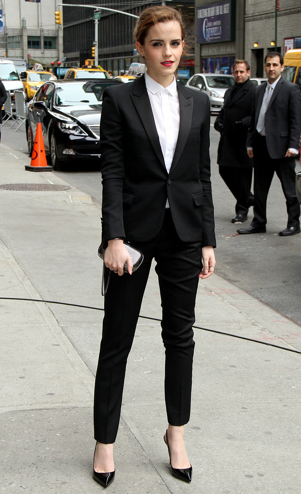 Emma Watson outside the Ed Sullivan Theatre in New York before appearing on the Late Show with David Letterman - New York, America - 25 March 2014