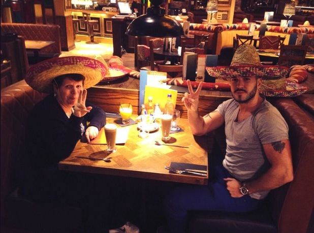Shayne Ward treats his mum Philomena to an early Mother's Day meal - 26 March 2014