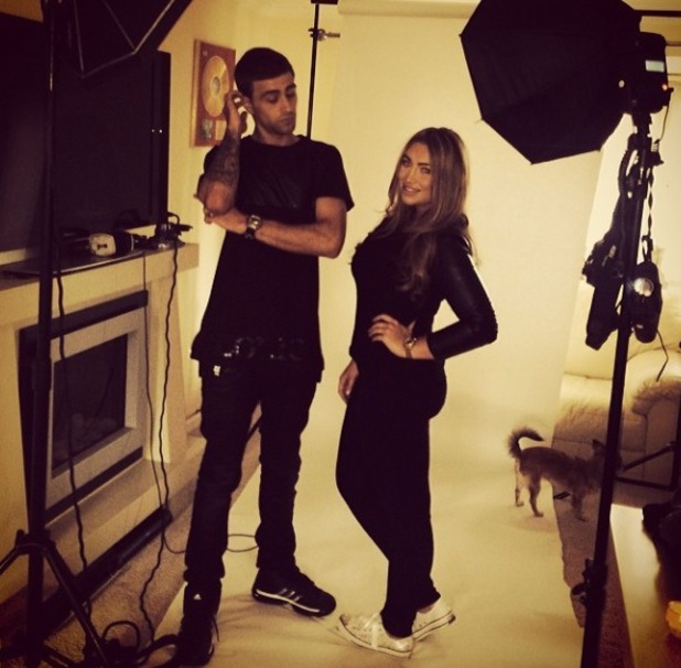 Forner TOWIE star Lauren Goodger on a photo shoot with UK rapper Fugitive. (27 March).