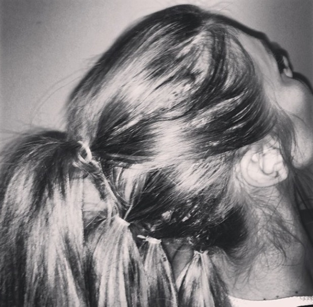Chloe Sims' 'perfect ponytail' of 4-in-1, back of head, 24 March 2014