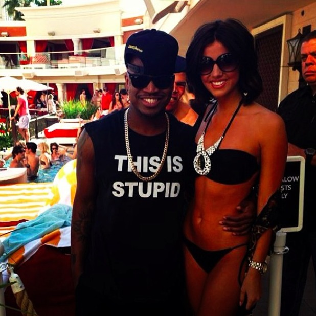 Lucy Mecklenburgh looks amazing in a bikini when she meets Neyo in Vegas, 29 March 2014