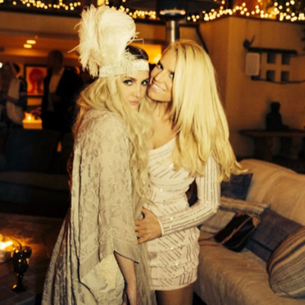 Ashlee Simpson and sister Jessica at Ashlee and Evan Ross celebration for their engagement, Los Angeles, March 2014