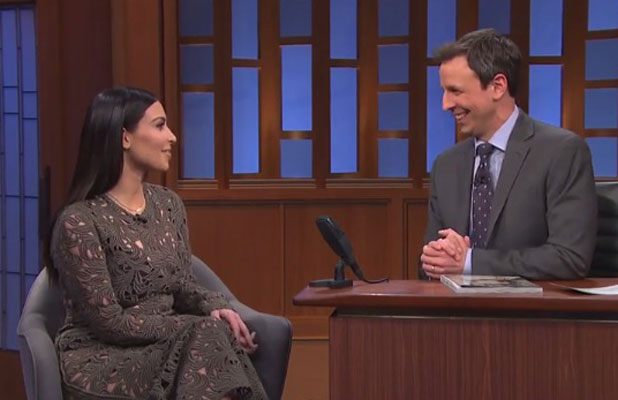 Kim Kardashian appearing on Late Night with Seth Meyers, New York, 25 March 2014