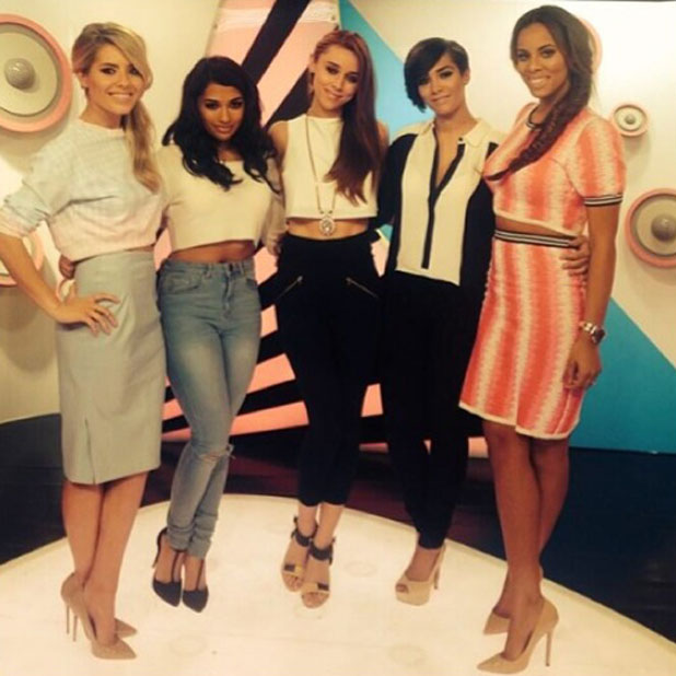 The Saturdays reunite on set to film a TV appearance, 24 March 2014