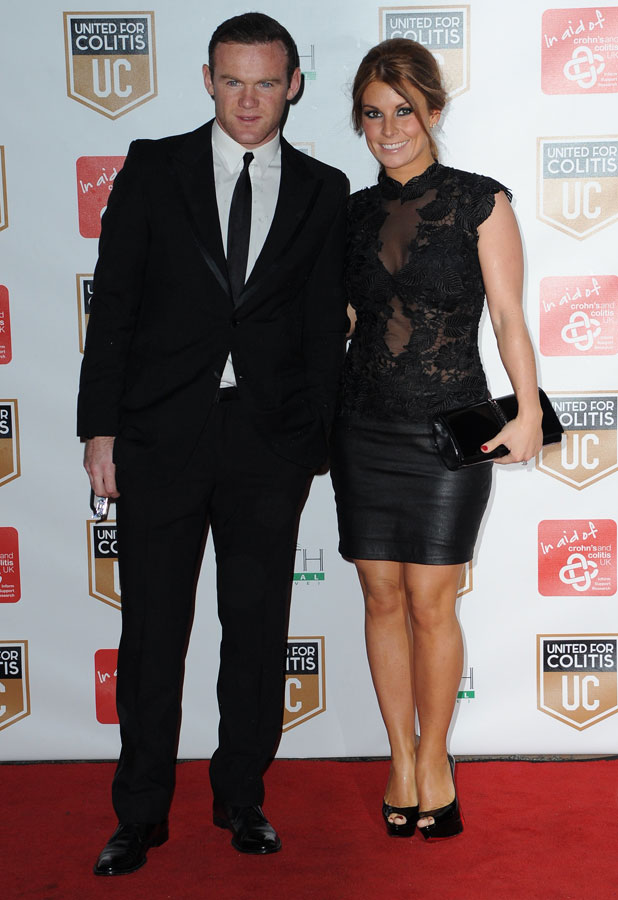 Coleen and Wayne Rooney attend Darren Fletcher and Lewis Mood's exclusive night of fundraising for Crohn's and Colitis, 27 March 2014