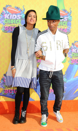 Pharrell Williams and wife Helen Lasichanh at Nickelodeon's 27th Annual Kids Choice Awards, Arrivals, Los Angeles, America - 29 Mar 2014