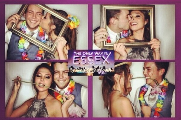 TOWIE's James 'Diags' Bennewith and Fran Parman pose in photo booth at wrap party