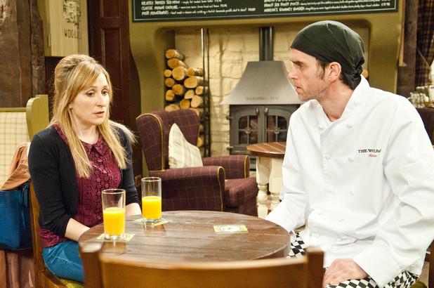 Emmerdale, Laurel talks to Marlon, Tue 8 Apr