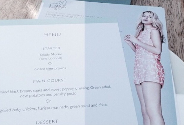 Mollie King posts an Instagram picture of her 'Mollie Dinner' from the launch party for her Loved By Mollie clothing edit for Oasis - London, England - 31 March 2014
