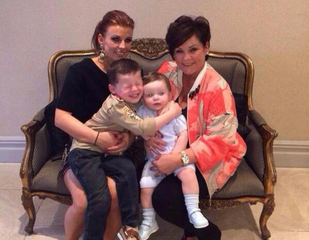 Coleen Rooney poses with her sons Kai and Klay and mum Colette on Mother's Day - 30 March 2014