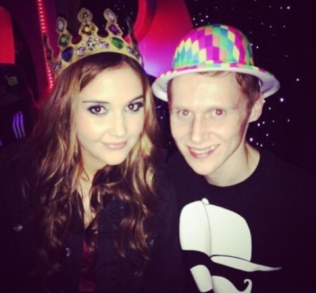 Jacqueline Jossa and Jamie Borthwich wear funky hats to a party - 2 April 2014