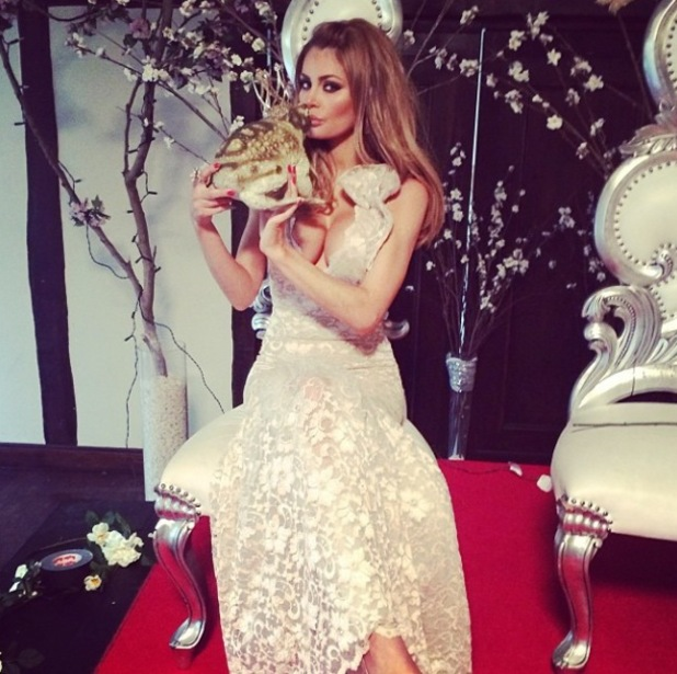 Chloe Sims kisses a frog at the prince and princesses themed TOWIE wrap party - 31 March 2014