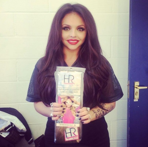 Little Mix's Jesy Nelson poses with Lauren Pope's brand of hair extensions Hair Rehab London - 28 March 2014
