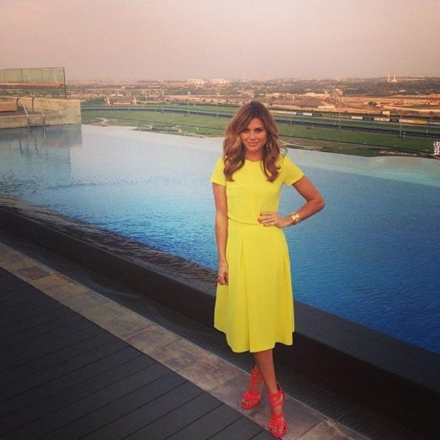 Zoe Hardman wears a yellow two-piece by Miss Selfridge while in Dubai - 29 March 2014