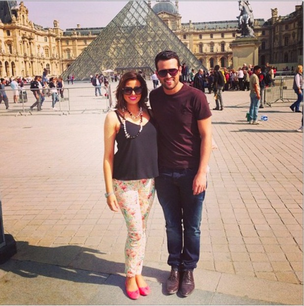 Jessica Wright and Ricky Rayment in front of the Louvre in Paris 1/4/14