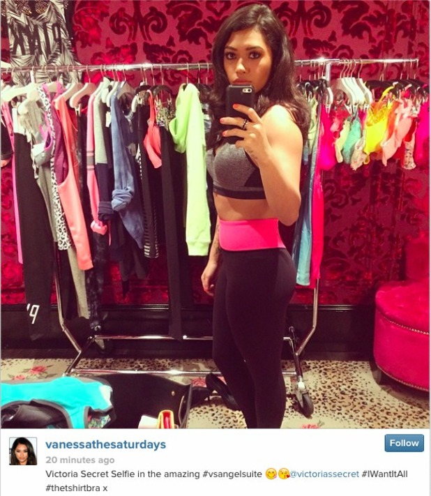 Vanessa White showing off her flat stomach and amazing figure in the Victoria's Secret VIP Angel Suite 1/4/14