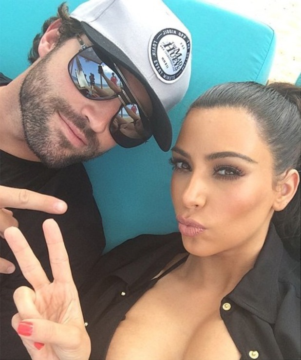 Kim Kardashian and Brody Jenner pose for an Instagram picture - 30 March 2014