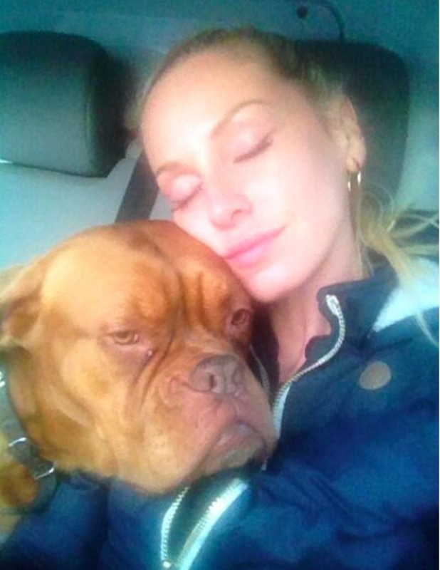"""Josie Gibson posts selfie with her dog Roxy """"Everybody needs a doggie for a pillow"""""""