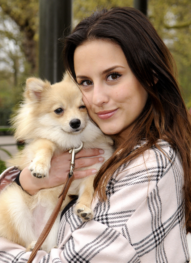 'Made in Chelsea' star Lucy Watson launches 'Bark in the Park' with her German Spitz, 'Digby' during a Match.com event for single Londoners and their dogs, 5 April 2014