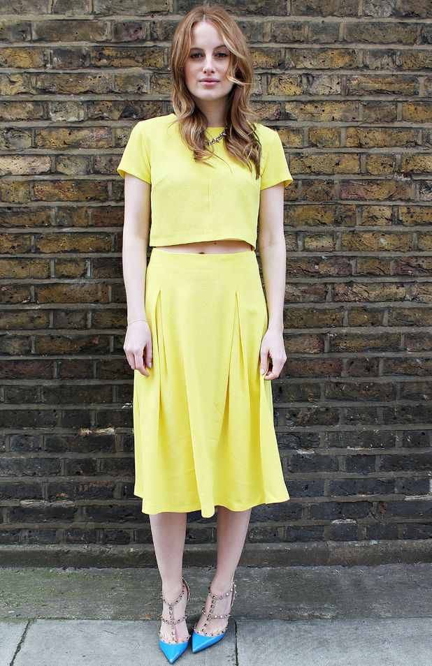Rosie Fortescue wears a yellow two-piece from Miss Selfridge - London, England - 1 April 2014