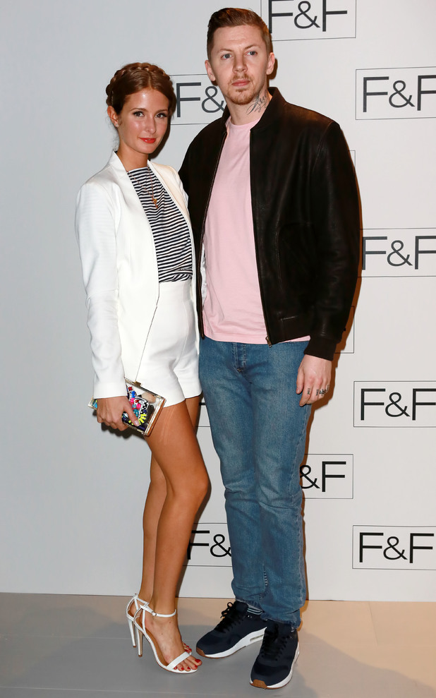Millie Mackintosh and Professor Green attend the F&F autumn/winter '14 catwalk show in Somerset House, London - 3 April 2014