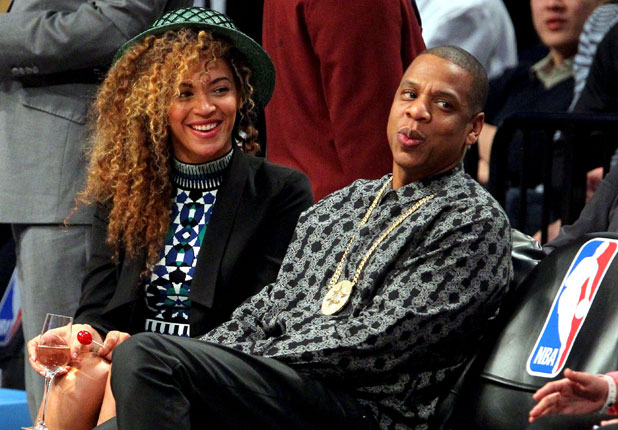 Beyonce and Jay Z at the Brooklyn Nets vs Houston Rockets NBA Basketball, Barclays Center, New York, America - 01 Apr 2014