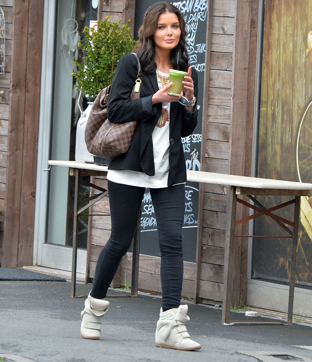 Helen Flanagan out and about in Alderley Edge. Helen seen drinking a green health shake, 4 April 2014