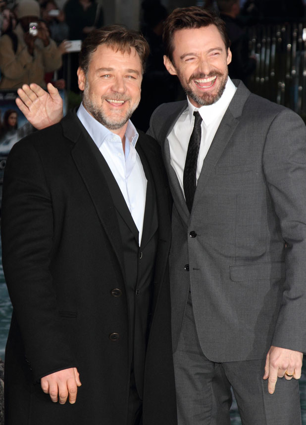 Hugh Jackman and Russell Crowe, UK Premiere of Noah at the Odeon Leicester Square, London, 31 March 2014