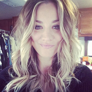 Kaley Cuoco's before shot before cutting her hair, 29 March 2014