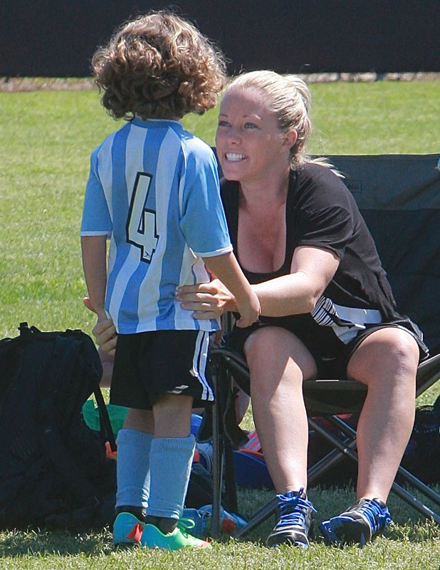 Kendra Wilkinson out and about watching sons football match, Woodland Hills, Los Angeles, America - 30 Mar 2014