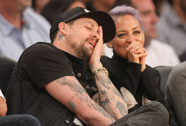 Nicole Richie and Joel Madden at the Los Angeles Lakers vs Portland Trail Blazers basketball game, 1 April 2014