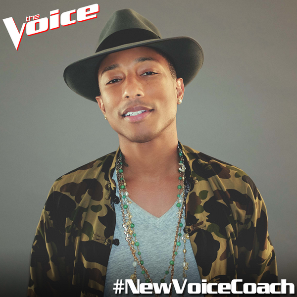 Pharrell Williams is announced as the new coach of The Voice US.