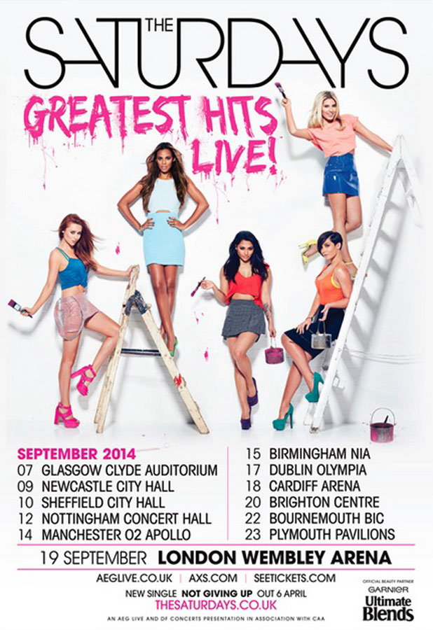 The Saturdays Greatest Hits Tour Poster, released 3 April 2014