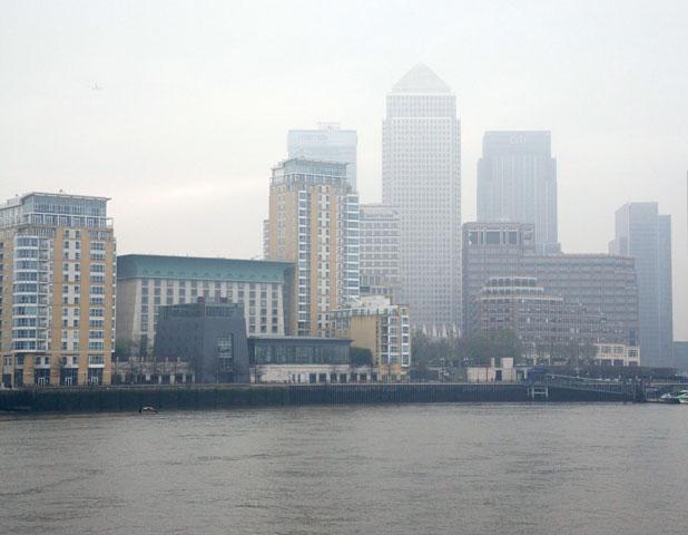 Air pollution over Canary Wharf, London, 3 April 2014