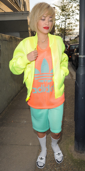 Rita Ora wears neon Adidas outfit as she steps out in London, England - 4 April 2014
