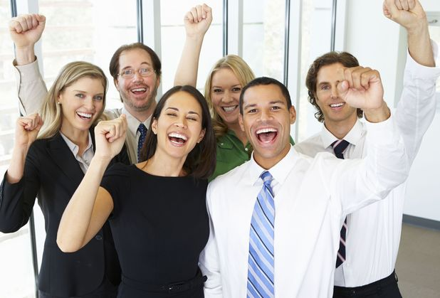 Happy people at work